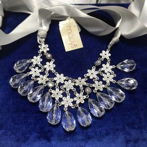 Statement BibNecklace Silver Flowers & Glass Beads